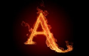 The fiery English alphabet picture A