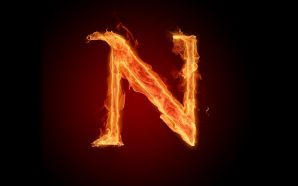 The fiery English alphabet picture N
