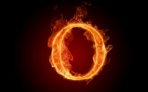 The fiery English alphabet picture O