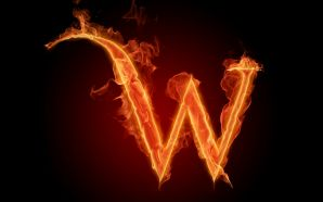 The fiery English alphabet picture W