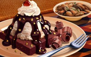 PSD Food illustrations 3194 chocolate dessert and cereal breakfast