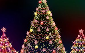 Free Christmas Trees with Colorful Lights wallpaper