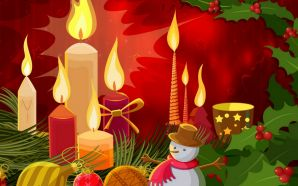 Free Christmas Candles and Snowman wallpaper