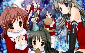 Free Cute Anime Girl in Christmas Image wallpaper
