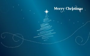 Free Blue Merry Christmas wallpaper