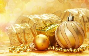 Christmas and Happy New Year - Golden Christmas Decoration