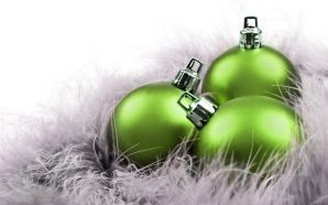Merry xmas and Happy New Year - Green christmas balls