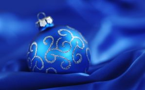 Merry xmas and Happy New Year - Blue christmas ball on silk cloth